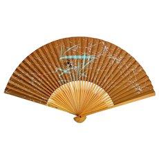 Japanese Folding Hand Fan Bamboo Paper Crab Art