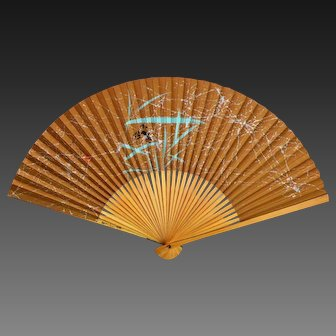 Japanese Folding Hand Fan Bamboo Paper Crab Art