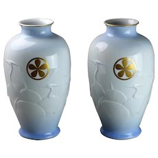 Matching Pair of Japanese Porcelain Vases Fukagawa Arita Imari Heron Crane in relief