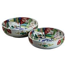 Large Antique Imari Nesting Bowls Japanese Dragon Punch Bowls