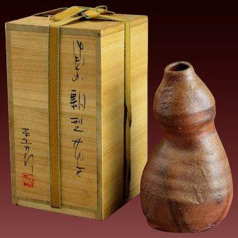 Bizen Hyotan Vase Japanese Stoneware Ikebana