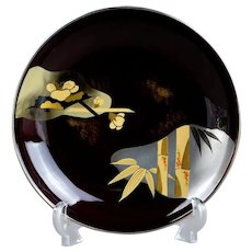 Kyoto Nishiki Gin-fuchi Japanese Lacquer Pedestal Bowl