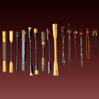 Collection of 15 Japanese Kogai. Kanzashi  Kushi Hair pin Stick Geisha Maiko Gion Hair Ornament Decoration