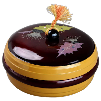 Japanese Nishiki Lacquer Sweets Caddy