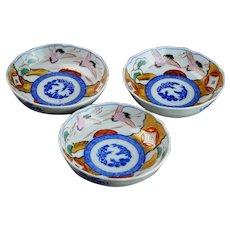 Three Antique Japanese Imari Porcelain Bowls