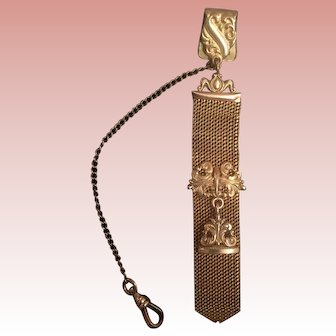Elegant Gold Filled Mesh Watch Fob with Monogram Charm