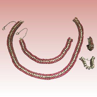 Breathtaking Vintage Sterling Rhinestone Set: Choker, Bracelet, Earrings