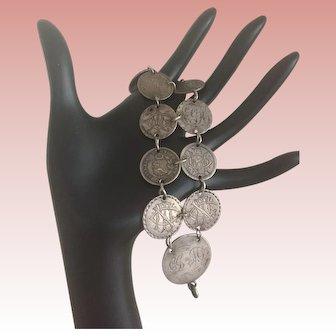 Love Token Antique Victorian Coin Charm  Bracelet