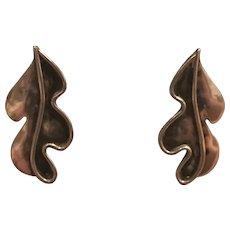 1950s Vintage Caroline Gleick ROSENE Signed Sterling Leaf Earrings