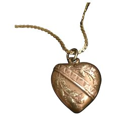 Antique 18K Gold Puffy Heart Colored Gold Charm
