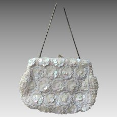 Vintage 1970's Beaded Opalescent Evening Clutch