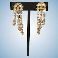 1950's Rhinestone Earrings Holly Craft Screw Back