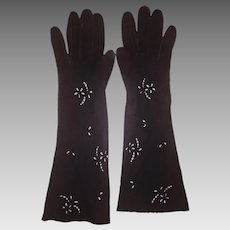 Elegant Vintage Capretto Italian Leather Evening Gloves