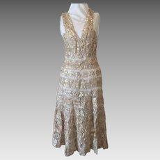 Pristine 1940's Couture Metallic Ribbon Evening Dress