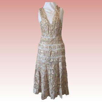 FINAL SALE Couture Crochet Ribbon Evening Dress 1940's
