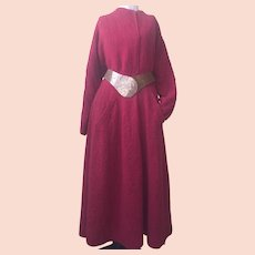 Couture Wool Boucle Handcrafted Coat Dress with Art Belt