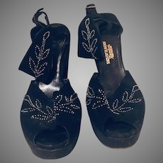 1940's  Steel-Cut Beaded Platform Ankle-Strap High Heel Shoes