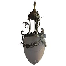 Dore Bronze Etched Glass Pendant Chandelier