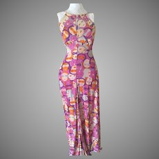 Boho Hippie 70's Jersey Halter Maxi Dress Never Worn