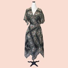 Vintage Sheer Handkerchief Hem Wrap Dress