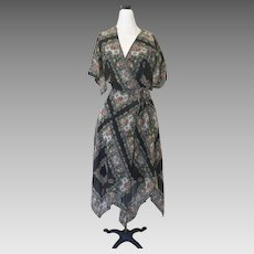 Vintage Sheer Handkerchief Hem Wrap Dress