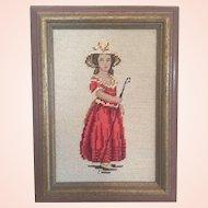 Framed Needlepoint Picture - Shepherdess