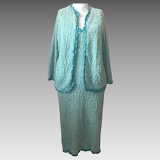 1960's Hand-Knit Dress and Cardigan