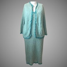 SALE 1960's Hand-Knit Dress and Cardigan