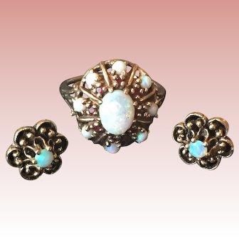 SALE Estate Opal Garnet Ring Earring Set 10k