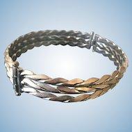 Groovy Vintage Braided Silvertone Dog-Collar Style Choker