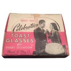 Never Used Vintage Cake Top Handblown Toasting Glasses -  12