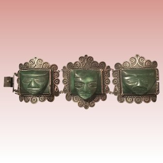 SALE 1930's Mexican Silver Dyed Onyx Aztec Carved Head Bracelet