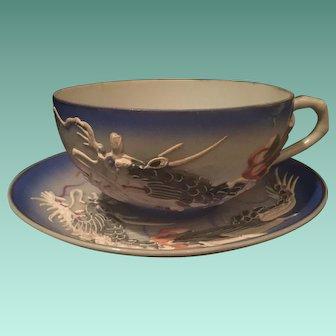Japanese Dragonware Cup and Saucer with Geisha Lithopane