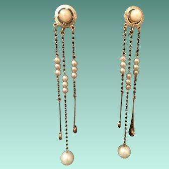 Edwardian 10k Earrings - Faux Pearl & Amethyst