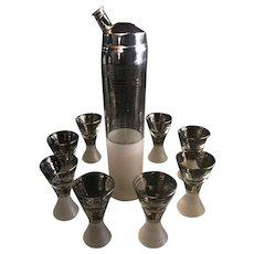 Derby Shelton Heavy Crystal Mercury Glass Art Deco Martini Cocktail Set