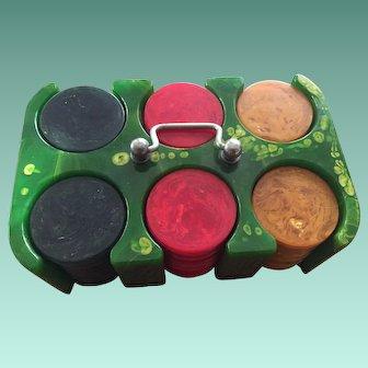 Vintage Catalin Bakelite Poker Chip Holder - 80 Chips