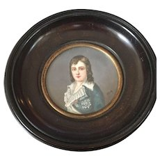 SALE 19th Century  Signed Miniature Portrait Louis XVII
