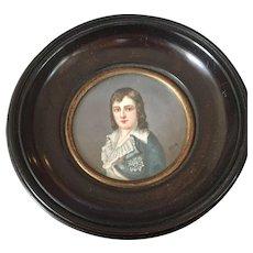 SALE 19th Century  Signed Miniature Portrait Louis XVII