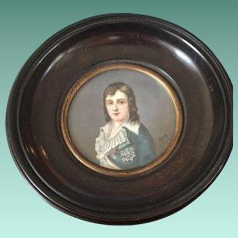 19th Century  Signed Miniature Portrait Louis XVII