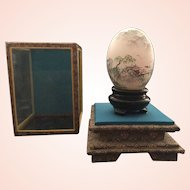 Japanese Signed Hand Painted Blown Egg with Case
