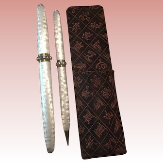 SALE 1958 Silver Moire Fountain Pen and Pencil Set Lady Sheaffer Skripsert