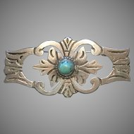 1930's Estate Mexican Taxco 980 Silver Turquoise Brooch
