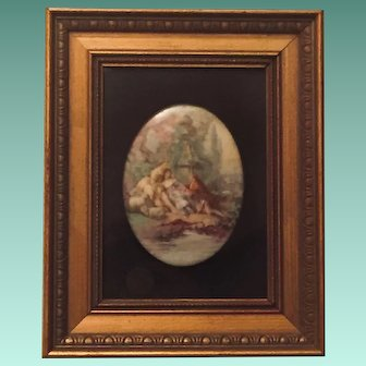 Framed Limoges Transfer and Painted Plaque