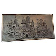 1972 Signed Roger Coast Metal Etched Zinc Framed Picture