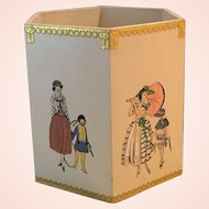 Hand Crafted Wooden Decoupage Wastepaper Basket - Mothers and Children