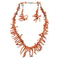 SALE Vintage Italian Natural Branch Coral Necklace and Earrings