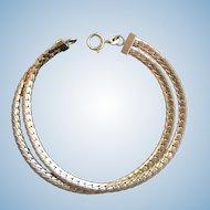 "14K Gold  Flat Double Herringbone S-link Bracelet 7"""