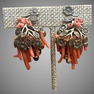 Early Unsigned Miriam Haskell Spezzati Coral Earrings