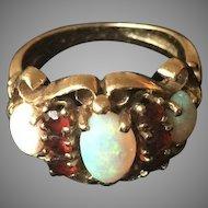 14k Gold Opal Garnet Ring Size 5