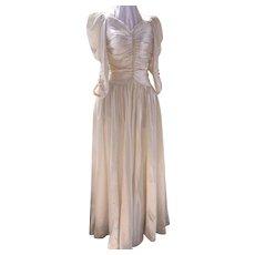 Mid Century Satin Wedding Gown - Full Skirt Size 10